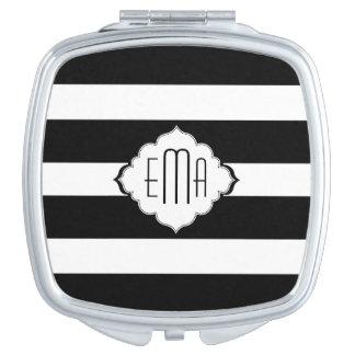Schwarz u. Weiß Stripes geometrisches Muster 2 Taschenspiegel