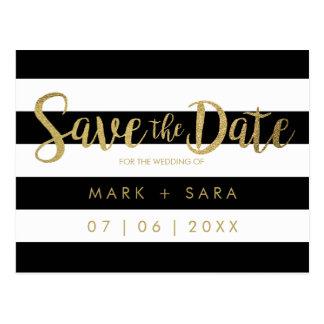 Schwarz u. Weiß Stripes Goldfolie Save the Date Postkarte