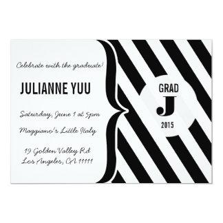 Schwarz u. Weiß Stripes Monogramm-Abschluss 12,7 X 17,8 Cm Einladungskarte