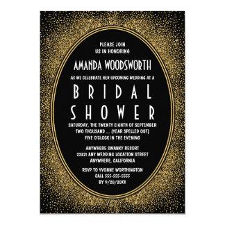 Schwarz-und Goldkunst-Deko-Brautparty-Einladungen Karte