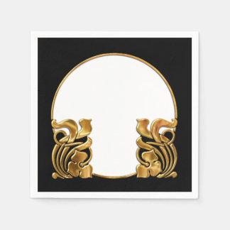 Schwarz-und Goldkunst-Deko/Kunst Nouveau Papierserviette