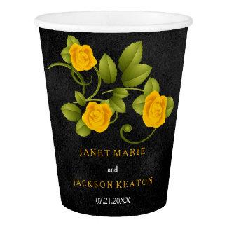 Schwarz-und Ringelblumen-gelbe Rosen-Hochzeit Pappbecher