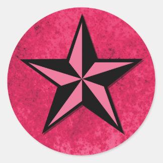 Schwarz-und Rosa-Stern Runder Aufkleber