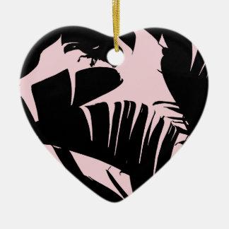 Schwarz-und Rosa-tropisches Bananen-Blätter-Muster Keramik Ornament