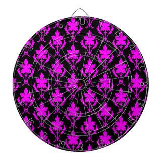 Schwarz-und Rosa-verziertes Tapeten-Muster Dartscheibe