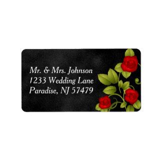 Schwarz-und Rosen-Hochzeit Adressetikett