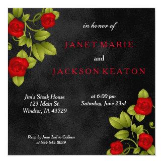 Schwarz-und Rosen-Hochzeit Karte