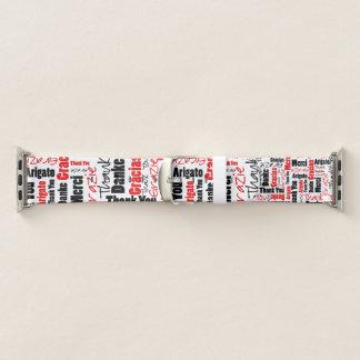 Schwarz und Rot DANKE, Collage abzufassen Apple Watch Armband