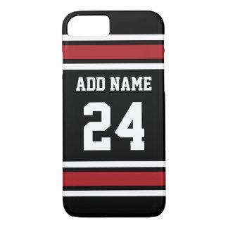 Schwarz und Rot trägt Jersey-Name-Zahl zur Schau iPhone 8/7 Hülle