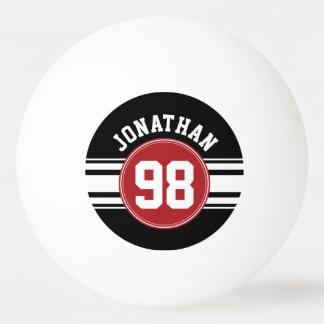 Schwarz und Rot trägt Jersey-Name-Zahl zur Schau Tischtennis Ball