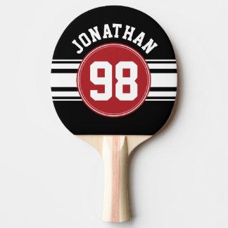 Schwarz und Rot trägt Jersey-Name-Zahl zur Schau Tischtennis Schläger
