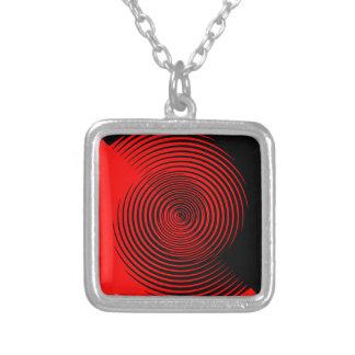 Schwarz und Rot wirbelte Entwurf Halskette Mit Quadratischem Anhänger