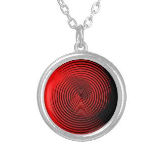 Schwarz und Rot wirbelte Entwurf Halskette Mit Rundem Anhänger