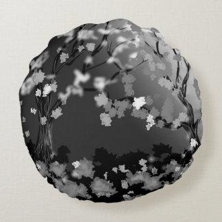 Schwarz- und Weißentwurfs-Wohngestaltung Rundes Kissen