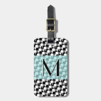 Schwarz/Weiß/das geometrische Aqua, Monogramm, Gepäckanhänger