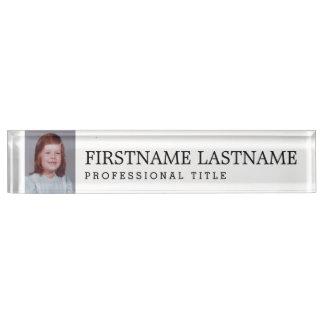 Schwarz-weiß mit beruflichem Namenstitel und Foto Namensplakette