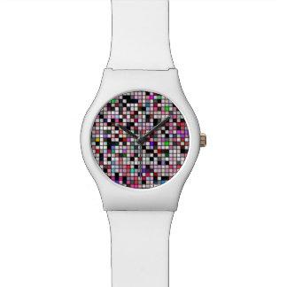 Schwarz, Weiß und Juwel-Ton-Quadrat-Muster Armbanduhr