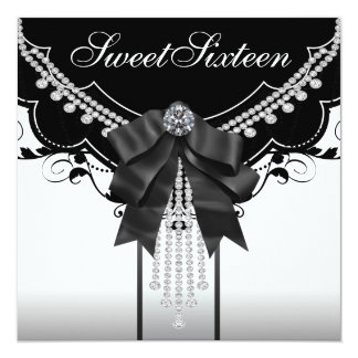 Schwarz-weiße 16. Geburtstag-Party Einladungen