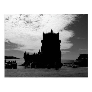 Schwarz-weiße Belem-Turm-Silhouette | Torre Belem Postkarte
