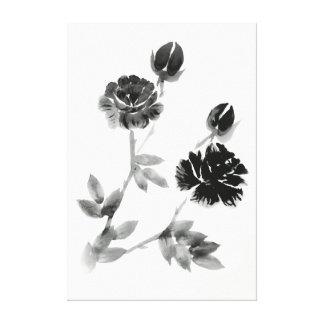 Schwarz-weiße Blumenbürsten-Malerei Leinwanddruck