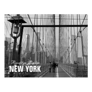 Schwarz-weiße Brooklyn-Brücke New York Postkarte
