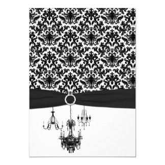 Schwarz-weiße Damast-Leuchter, die Einladung