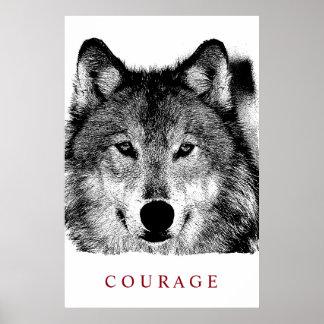 Schwarz-weiße Digital-Tinten-motivierend Mut-Wolf Poster