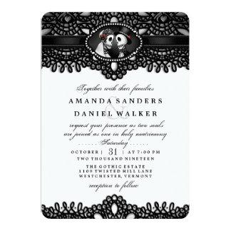 Schwarz-weiße elegante Skeleton Hochzeit zusammen 12,7 X 17,8 Cm Einladungskarte