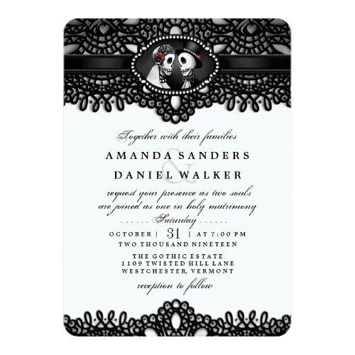 ... Schwarz Weiße Elegante Skeleton Hochzeit Zusammen Einladung ...
