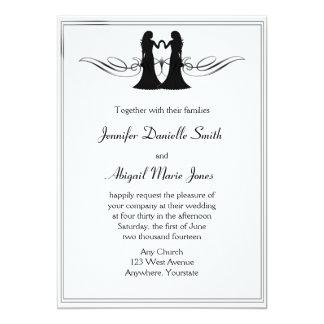 Schwarz-weiße Eleganz-homosexuelle Bräute, die Karte