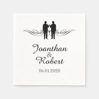 Schwarz-weiße Eleganz pflegt Hochzeits-Serviette Papierservietten