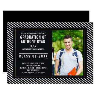 Schwarz-weiße FOTO Abschluss-Einladung Karte