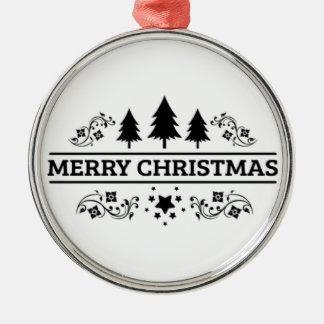Schwarz-weiße frohe Weihnachten Silbernes Ornament