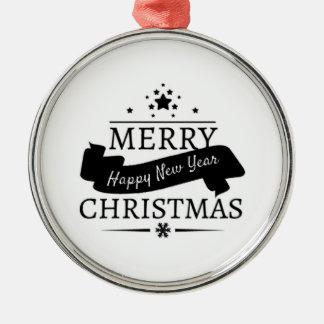 Schwarz-weiße frohe Weihnachten und ein Silbernes Ornament