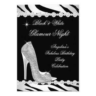 Schwarz-weiße Glamour-Nachtzebra-Glitter-Ferse 12,7 X 17,8 Cm Einladungskarte