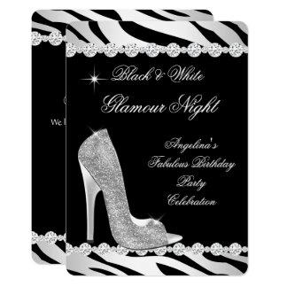 Schwarz-weiße Glamour-Nachtzebra-Glitzer-Ferse Karte