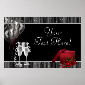 Schwarz-weiße Glitzern-Champagne-Party-Fahne Poster