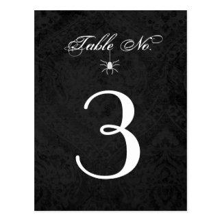Schwarz-weiße gotische Spinnen-Tischnummer Postkarten
