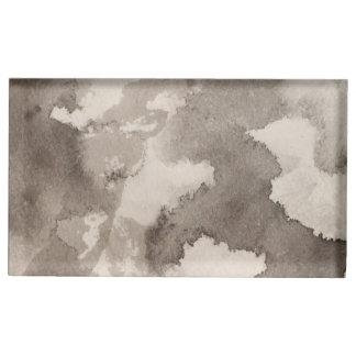 Schwarz-weiße graue graue Mondmustertinte spritzt Tischkartenhalter