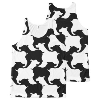 Schwarz-weiße große Hundemuster-Behälter-Spitze Komplett Bedrucktes Tanktop