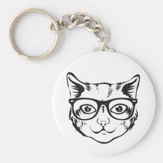 Schwarz-weiße Hipster-Katze Standard Runder Schlüsselanhänger