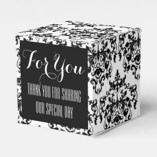 Schwarz-weiße Hochzeit des Damastes formal Geschenkkartons