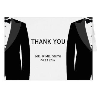 Schwarz-weiße homosexuelle Hochzeit danken Ihnen Grußkarte