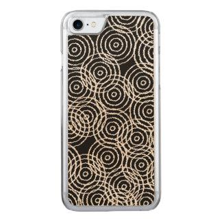 Schwarz-weiße Ikat Deckung kreist geometrisches Carved iPhone 8/7 Hülle