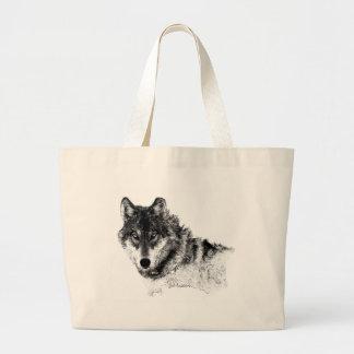 Schwarz-weiße Inspirational Wolf-Augen Jumbo Stoffbeutel