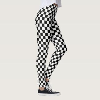 Schwarz-weiße Karo-Checkered laufendes Leggings