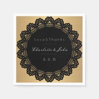 Schwarz-weiße Kreis-Verzierungs-goldene Hochzeit Serviette