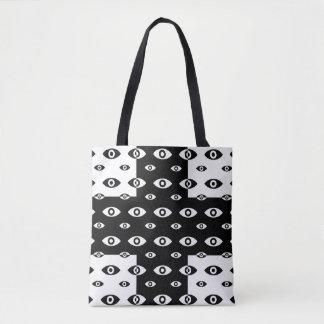 Schwarz-weiße Kreuz-und Augen-Taschen-Tasche Tasche