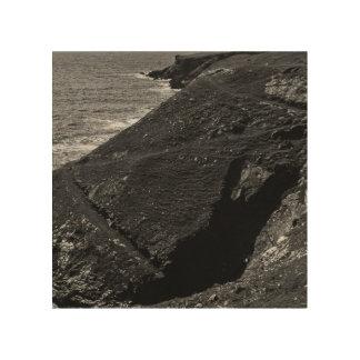 Schwarz-weiße Küste Holzdruck