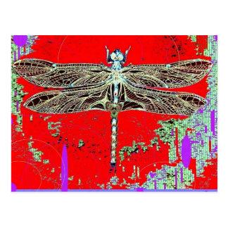 Schwarz-weiße Libelle auf rot-lila durch Sharles Postkarte